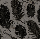Gothic seamless background from black feathers Royalty Free Stock Photo