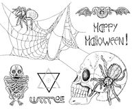 Gothic set with spiders, skull and demons Stock Photo