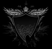 Gothic Shield Insignia. Gothic Vector Black Winged Shield Insignia Royalty Free Stock Photography