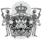 Grunge skull coat of arms Royalty Free Stock Photo