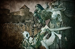 Gothic skulls and bones near the old fortress Stock Photography