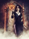 Gothic sorceress holding a sphere of fire. And standing in front of a mirror vector illustration