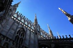 Gothic spires on blue sky background stock photo