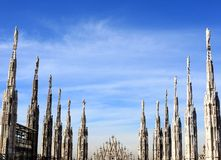Gothic spires on blue sky background Stock Photo