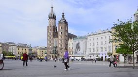 The gothic St. Mary's Church in historical center of Krakow Royalty Free Stock Images