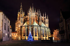 Gothic St. Vitus' Cathedral on Prague Castle in the Night with Christmas Tree, Czech Republic Stock Images