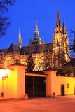 Gothic St. Vitus' Cathedral on Prague Castle in the Night Royalty Free Stock Photos