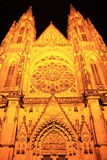 Gothic St. Vitus' Cathedral on Prague Castle in the Night Stock Photography