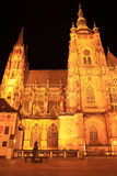 Gothic St. Vitus' Cathedral on Prague Castle in the Night Stock Image