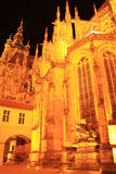 Gothic St. Vitus' Cathedral on Prague Castle in the Night Royalty Free Stock Images