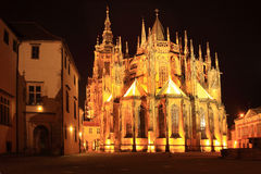 Gothic St. Vitus' Cathedral on Prague Castle in the Night Royalty Free Stock Photography