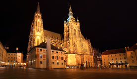 Gothic St. Vitus' Cathedral on Prague Castle in the Night, Czech Republic Royalty Free Stock Photography