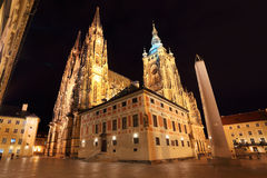Gothic St. Vitus' Cathedral on Prague Castle in the Night, Czech Republic Royalty Free Stock Photo