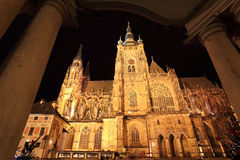 Gothic St. Vitus' Cathedral on Prague Castle in the Night, Czech Republic Stock Images