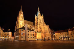Gothic St. Vitus' Cathedral on Prague Castle in the Night, Czech Republic Stock Image