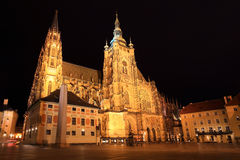 Gothic St. Vitus' Cathedral on Prague Castle in the Night, Czech Republic Royalty Free Stock Photos