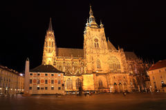 Gothic St. Vitus' Cathedral on Prague Castle in the Night, Czech Republic Stock Photos