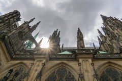 Gothic St Vitus Cathedral with Sun Flare Stock Photo