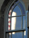 Gothic stained glass arch window leaded sash royalty free stock photography