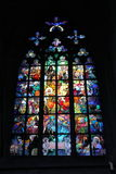 Gothic stained glass window in Saint Vitus cathedral in Prague Royalty Free Stock Photo