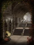 Gothic stairs with candles Royalty Free Stock Photography