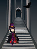 Gothic Stairs and Witch Stock Image