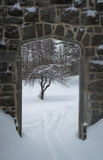 Gothic stone door way with an apple tree in winter. Gothic stone door way with an apple tree in the snow. Snowing Royalty Free Stock Image