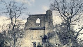 Gothic stone window with arched arch. Gothic cathedral without roof. Gothic stone window with arched arch. Gothic cathedral, ruins of medieval castle. Royal stock video footage