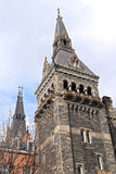 Gothic style architecture of Healy Hall building towers. Stock Photos