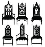 Gothic style chairs set stock illustration
