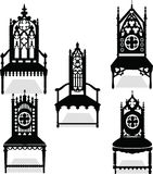 Gothic style chairs set with ornaments Stock Images