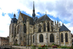 Gothic Style Church in Old French Town in France. Saint Sulpice gothic medieval architecture church of roman catholic religion rite in the old French town of Royalty Free Stock Photography