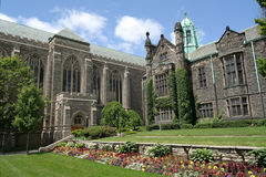 Gothic style college & garden royalty free stock photography