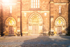 Gothic style entrance portal of Basilica of Saint Peter and Paul in Vysehrad, Prague, Czech Republic.  Stock Photos