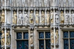 The gothic style facade of Brussels City Town Hall locate at Grand Place in Brussels, Belgium. The facade of the Town Hall of the City of Brussels, a building of Royalty Free Stock Photography