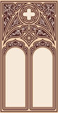 Gothic style frame. Frame for text in the Gothic style in the form of a stained-glass window on a beige background Stock Images