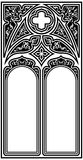 Gothic style frame. Frame for text in the Gothic style in the form of a stained-glass window on a white background Stock Photo