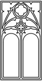 Gothic style frame. Frame for text in the Gothic style in the form of a stained-glass window on a white background Royalty Free Stock Photo