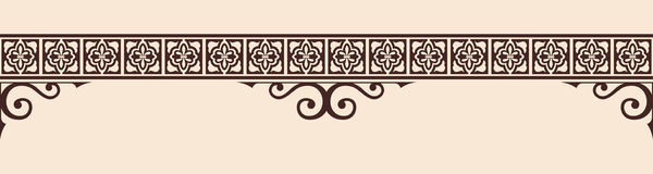 Gothic style ornament. Seamless vintage ornament with elements of Gothic style. Brown pattern on a beige background Royalty Free Stock Photography