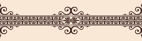 Gothic style ornament. Seamless vintage ornament with elements of Gothic style. Brown pattern on a beige background Royalty Free Stock Image