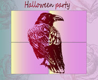 Gothic style is a raven. A cool idea for a poster for Halloween. Art poster Halloween party - ready to print. Gothic style - sitting a dark red raven looks into Stock Photos