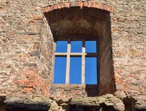 Gothic style window in the abandoned castle palace of Lipnice nad Sázavou castle in Czech republic. Gothic style window in the abandoned castle palace of royalty free stock photo