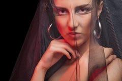 Gothic style woman on black background Stock Image