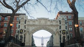 Gothic styled archway build structure in new york city royalty free stock photos