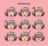 Gothic teen girl emoji, smile icons set. Vector, art, design, color Stock Photos
