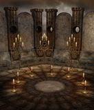 Gothic temple 6. Dark temple with candles and candelabras Royalty Free Stock Photo