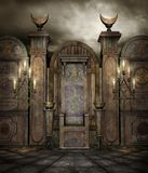 Gothic temple 7. Dark temple with candelabras and burners Royalty Free Stock Image