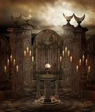 Gothic temple 8. Dark shrine with columns and candelabras Royalty Free Stock Photos