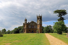 The Gothic Temple, Hawkwell Field. Stowe House is a Grade I listed country house located in Stowe, Buckinghamshire, England. It is the home of Stowe School, an stock photo