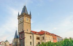 Old city hall in Prague. Gothic tower of the old city hall in Prague stock images